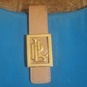 RALPH LAUREN BLUE CANVAS &LEATHER BAG..GOLD LETTER